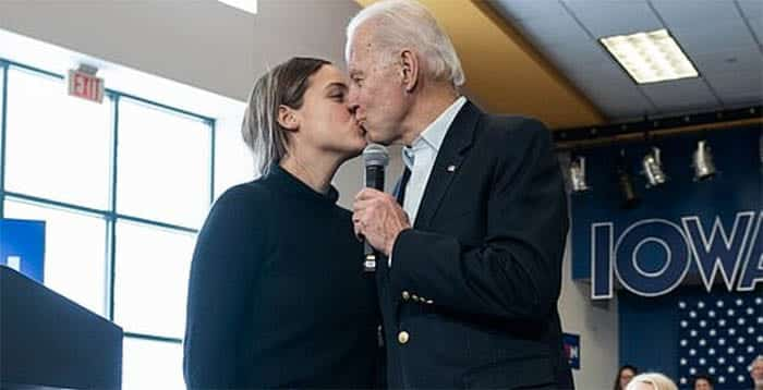 CREEPY UNCLE JOE: Biden Awkwardly Kisses Granddaughter at Campaign Stop 1