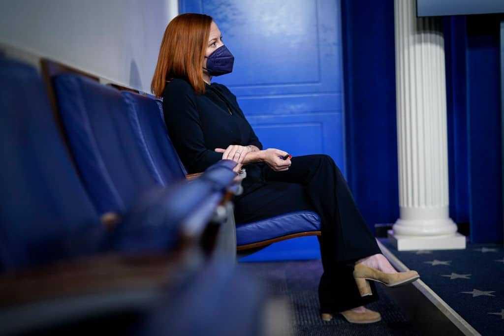 Press Secretary Jen Psaki And Homeland Security Secretary Alejandro Mayorkas Hold Briefing At White House